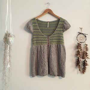 Free People Nordic Fair Isle Wool Babydoll Size Lg